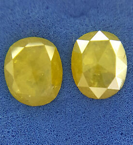 African-Natural-Antique-Diamond-Pair-II-Rose-cut-Oval-shape-Yellow-color-0-92TCW