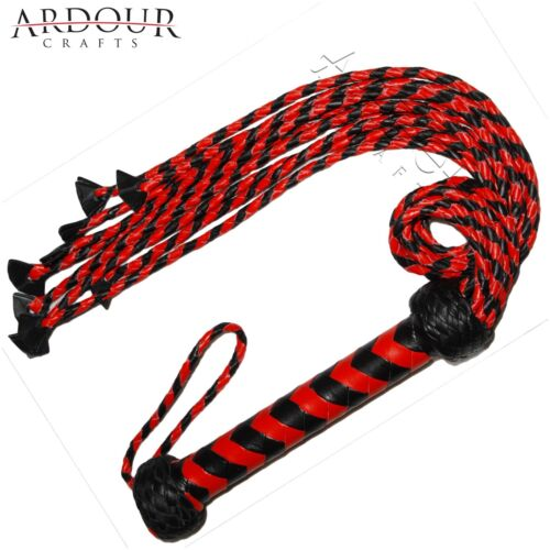Genuine Cow Hide Leather Flogger Red /& Black Braided 09 Falls Heavy Cat O Nine