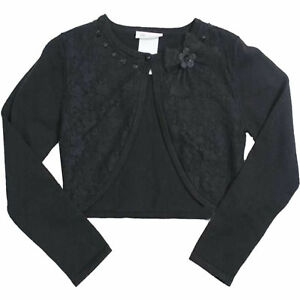 Tween-Girls-7-16-Black-Lace-Front-Knit-Bolero-Cardigan-Shrug-Sweater-S-M-L-XL
