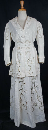 Edwardian 1912 Whitework Linen Walking Suit -  Hel