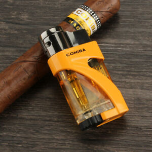 COHIBA-YELLOW-2-Trip-Torch-Jet-Flame-Cigar-Cigarette-Lighter-Windproof