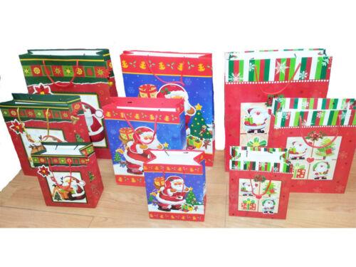 santa or striped Pack of 10 small 3D Christmas gift bags 3 types santa reindeer