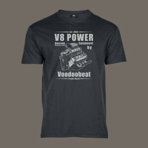 T-Shirt-V8-Power-MOPAR-Hot-Rod-Muscle-US-Car-Pick-Up-grau-S-5XL