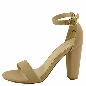 c93873e99ed Details about Bamboo Rampage-04S Nude Nubuck Women's Single Band Chunky  Heel Sandal