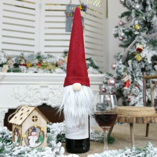 Christmas Champagne Bottle Cover Decor Dress Up Decoration Faceles Doll For Home