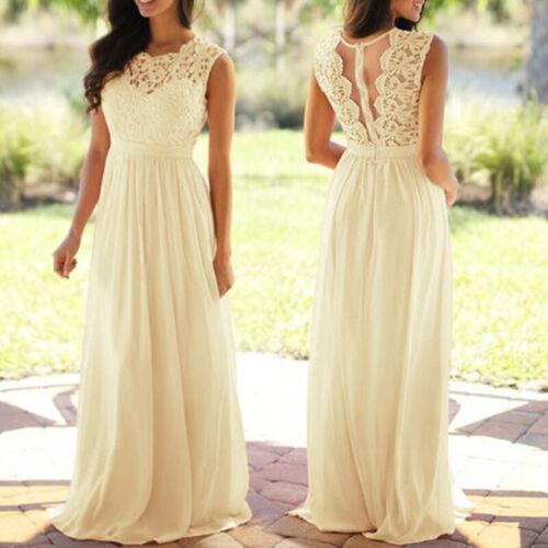 Women Summer Long Formal Wedding Dress Party Evening Bridesmaid Lace Maxi Dress