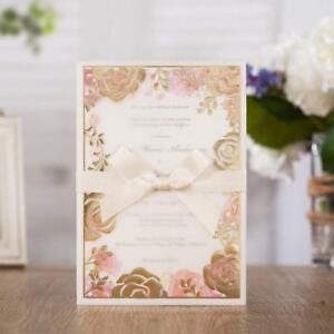 Details About Fl Gold Rose Wedding Invitations Card With Ribbon And Envelope Blank Invites