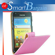 HQ PINK Carbon Fibre Flip Leather Case Cover For Samsung Galaxy S2 i9100 + SP