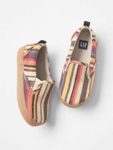 GAP Baby Toddler Boys NWT Size US 8 Yellow Red Striped Slip-On Sneakers Shoes