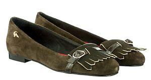 Italy Pelle Flats Pony Verde Scarpe Schuhe Verde Ballerina 41 scamosciata Mori Made S1WTaS5