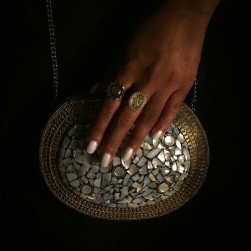 Mother of Pearl RRP £75.49 Oria ethnic clutch metal stone bag