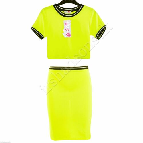 New Girls Neon Bright Colors Fashion Crop Top /& Stylish Pencil Skirt 7-13 Years
