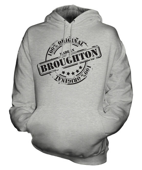 MADE IN BROUGHTON UNISEX HOODIE  Herren Damenschuhe LADIES GIFT CHRISTMAS BIRTHDAY 50TH