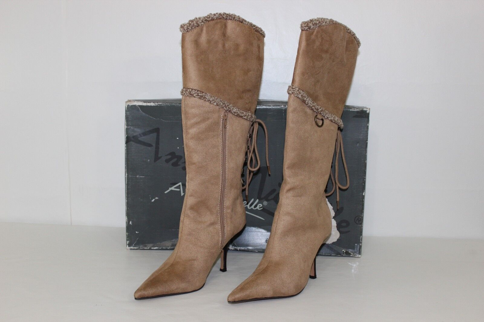 Anne Michelle femmes Sz 9 marron Faux Suede Knee High Zip Up High Heel bottes NEW