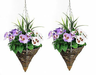 Viola PURPLE /& YELLOW Spring Pansies 2 x Artificial Cone Hanging Baskets