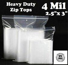 100 25x 3 Zip Seal Top Lock Bags Clear 4 Mil Plastic Reclosable Mini Baggies