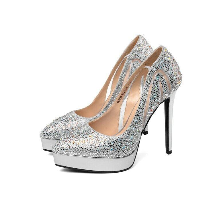 donna Real Leather Rhinestones Platform High Heels Stiletto scarpe Pumps Party