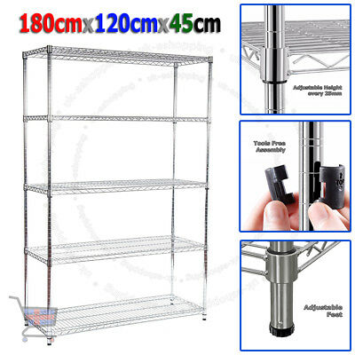 180X120X45cm Real Chrome Wire Rack Heavy Duty  Metal Steel Shelving Racking UKED