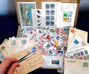 Grosse-Briefmarken-Wunderkiste-BRD-hunderte-Marken-aus-Flohmarkt-Nachlass
