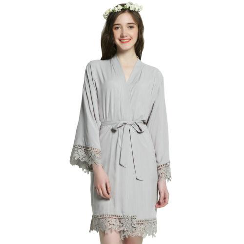 Rayon Cotton Bridesmaid Lace Robes w// Trim Women Wedding Bridal Short Bath Robe