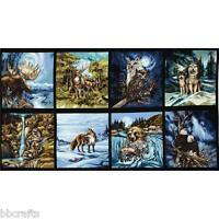 8 Beautiful Wildlife Panels Moose Fox Eagle Wolf Raccoon 4 Quilts Home Decor 3