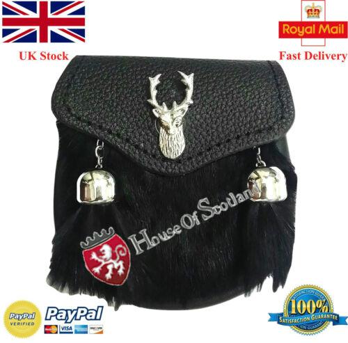 vestido falda escocesa de bebé Sporran Niños Nuevo Kilt Sporran de niño negro piel de conejo cabeza de ciervo