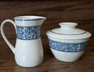 Noritake Cookin Serve Cielito Lingo Sugar Bowl and Creamer 2151 Japan White Blue