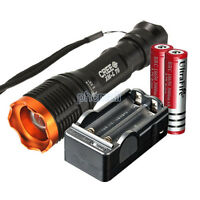 1800 Lumen CREE XM-L T6 LED Zoomable Flashlight Focus Torch Lamp 2x18650+Charger