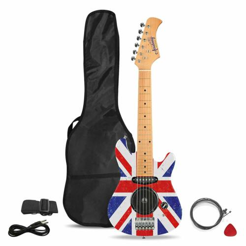 Academy Of Music Beginners Union Jack Electric Guitar with Built-in Amp /& Case