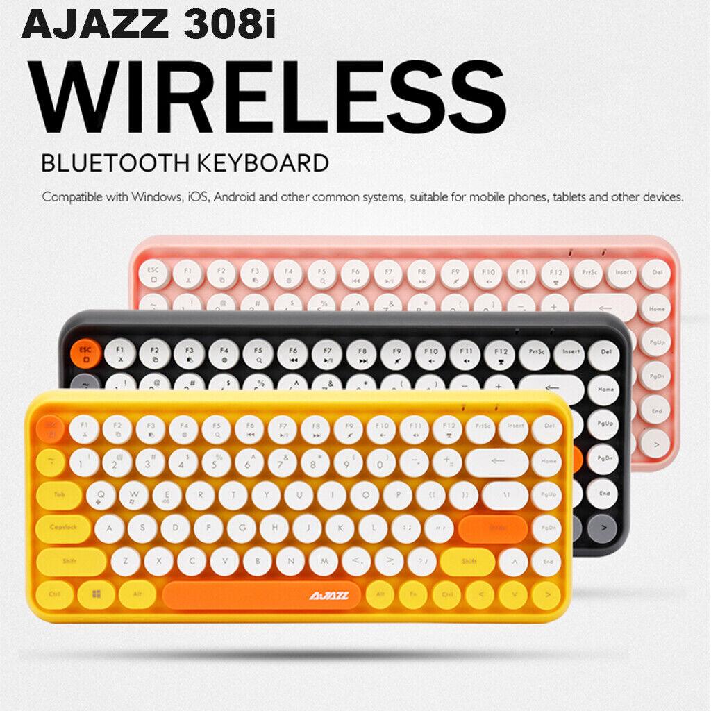 Ajazz 308i Cute Wireless Bluetooth Keyboard Compact Retro Round Keycaps 84 Keys