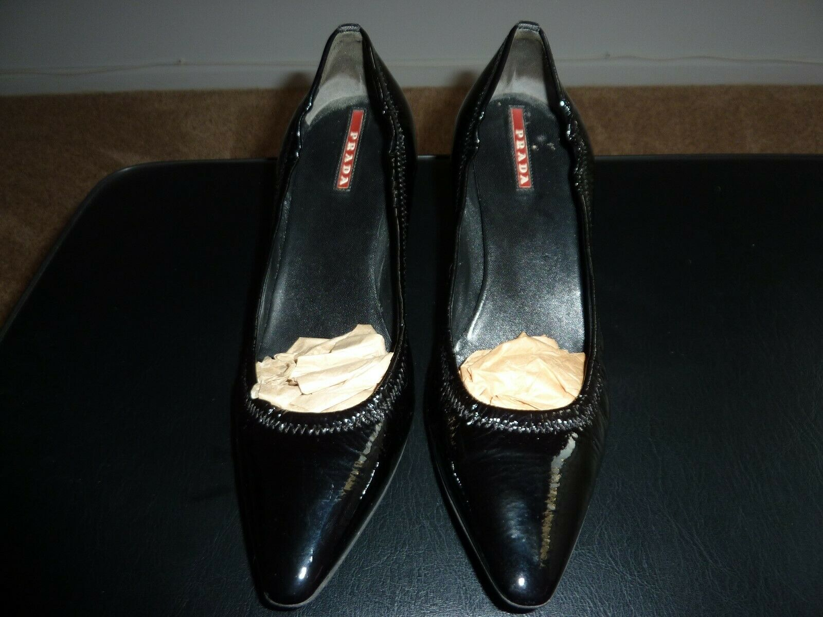 Prada patent leather semi pointed-toe pumps size IT 38.5