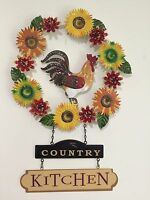 French Country Farm Rooster Wall Art Harvest Fall Sunflower Autumn Wall Decor