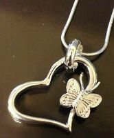 Heart Pendant With Butterfly Sterling/ 20 Inch Snake Chain