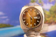 Beautiful Variegated Brown Sunburst  Dial 39mm SS Seiko 6119 7510 Day/Date Auto