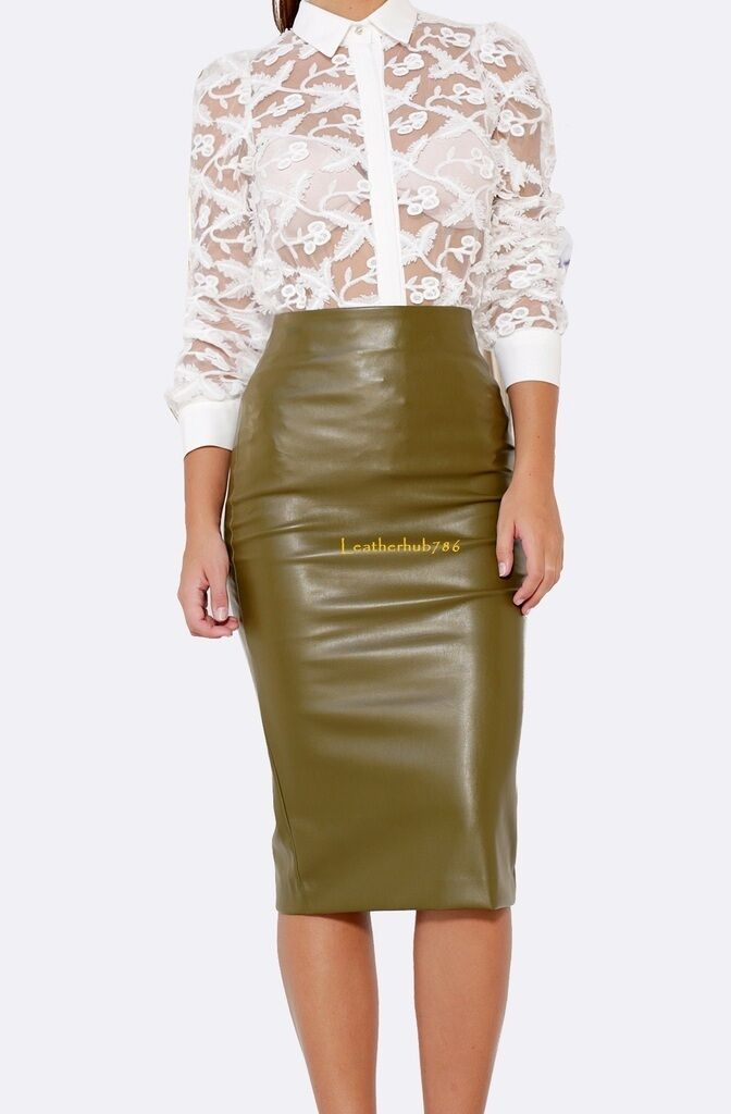 New 100% Genuine Lambskin Green Leather Women Pencil Hollywood Style Skirt 55