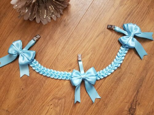 Beautiful  3  clip bow Pram charm romany plain boy blue more colours available