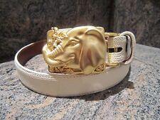RARE KIESELSTEIN-CORD GOLD TONE ELEPHANT BELT BUCKLE AND LIZARD BELT