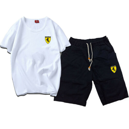 Men Summer TrackSuit Sport T Shirt Top Tee Suit Sets Pants