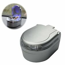 Mini Portable Car Ashtray Blue LED Light for Dashboard Cigar Cigarette Silver