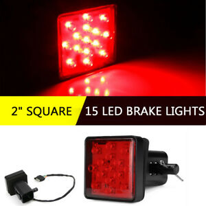 Trailer-Truck-Red-15-LED-Brake-Tail-Light-2-034-Square-Waterproof-With-Hitch-Pin
