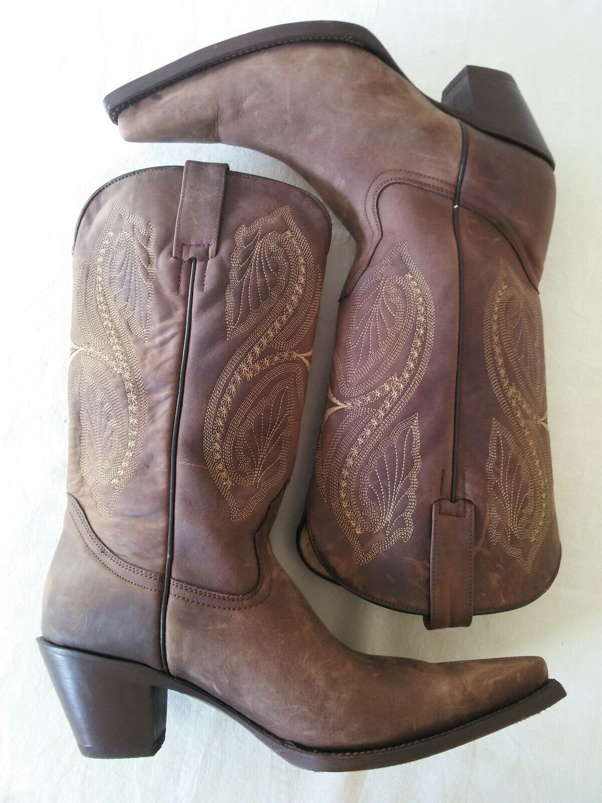 Ladies JE-VER JE-VER JE-VER Brown Leather pointed toe cowboy style fashion boots Size 7.5- 8 8923a4
