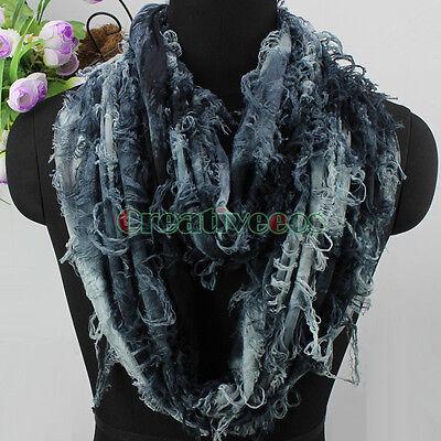 Women's Fashion Scarf Broken Butterfly Pattern Tie-Dye Shred Infinity Scarf New