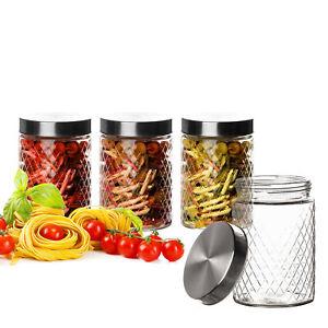 4x Vorratsgläser mit Edelstahldeckel 1,2L Aufbewahrung Glas Mehl Müslidosen Set