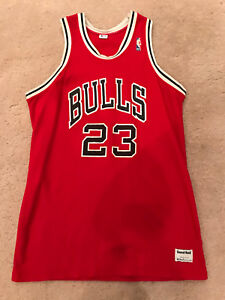 online retailer 0f2bf 18615 Details about Michael Jordan RARE MacGregor Sand-Knit #23 Chicago Bulls Red  Jersey - Size XL
