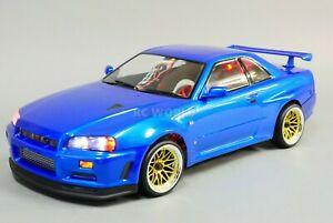 Custom-RC-1-10-Drift-NISSAN-SKYLINE-R34-AWD-Belt-CAR-Blue-RTR