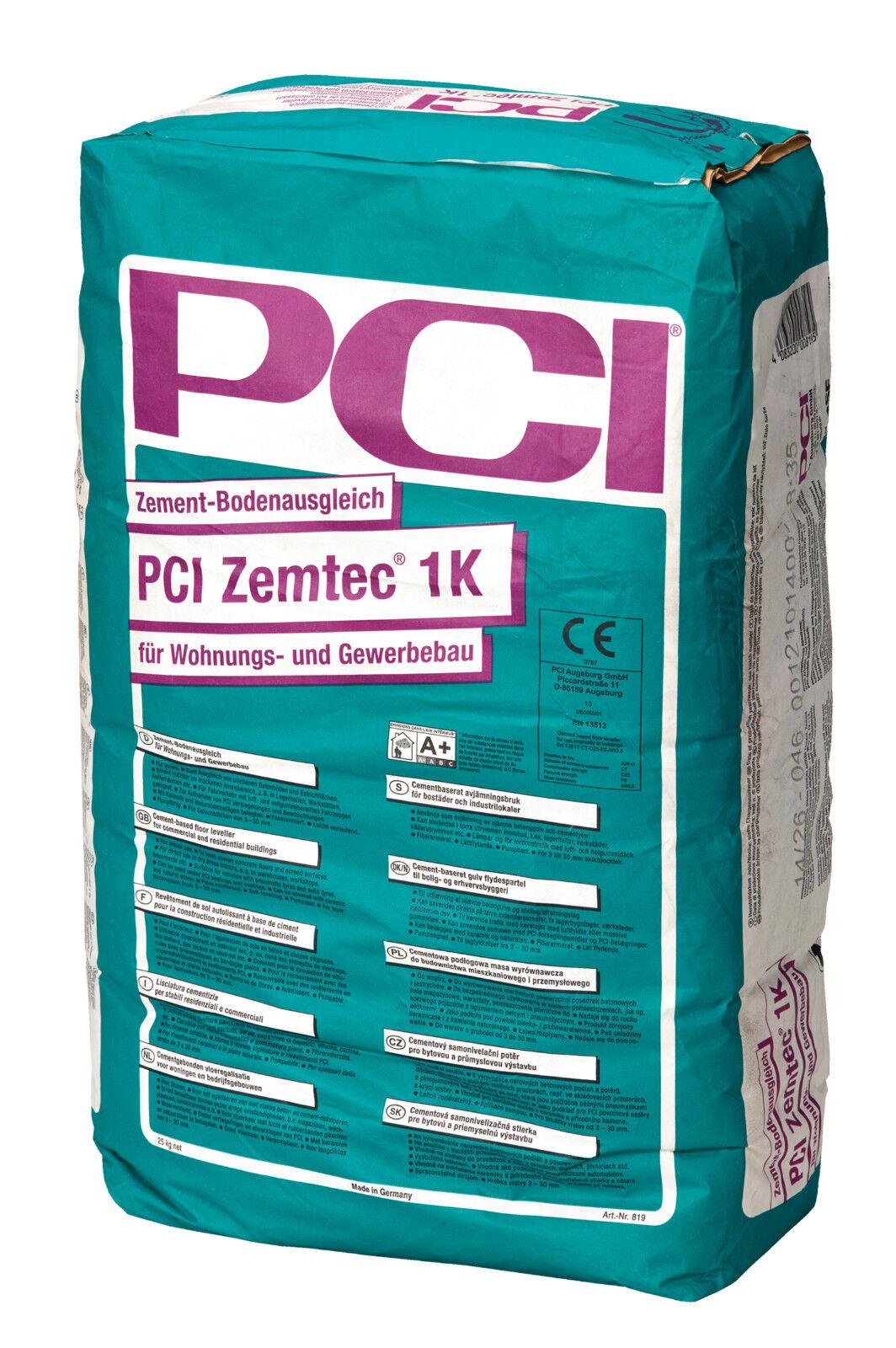 PCI Zemtec® 1K 25 kg Zement-Bodenausgleich für Wohnungs und Gewerbebau 3 - 30 mm