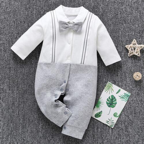Newborn Infant Toddler Baby Kid Boy Bow Gentleman Straps Jumpsuit Romper Clothes