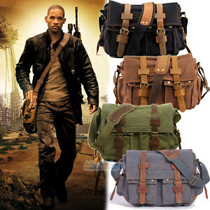 Men-039-s-Military-Canvas-Leather-Satchel-School-11-034-Laptop-Shoulder-Messenger-Bag