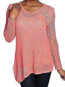 New oso casuals open knit long sleeved asymmetrical hem sweater m