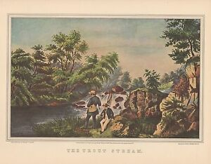 """1952 Vintage Currier & Ives """"THE TROUT STREAM"""" FISHING COLOR ART Lithograph"""